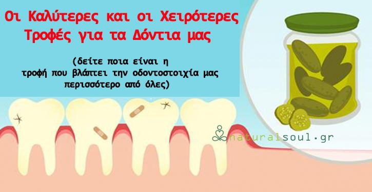 Οι Καλύτερες και οι Χειρότερες Τροφές για τα Δόντια μας (δείτε ποια είναι η τροφή που βλάπτει την οδοντοστοιχία μας περισσότερο από όλες)!